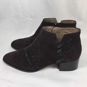 DONALD PLINER Bowery Brown Suede Chelsea Ankle
